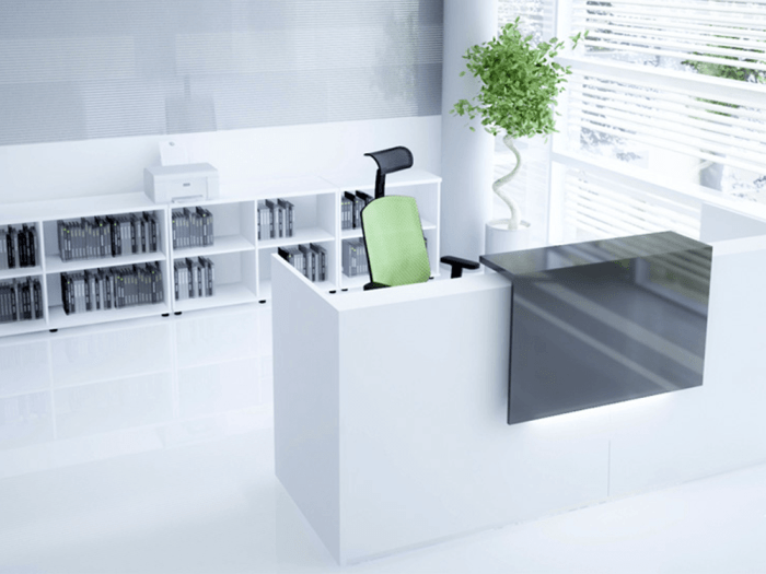 Andreas 3 – Reception Desk with Overhang Panel