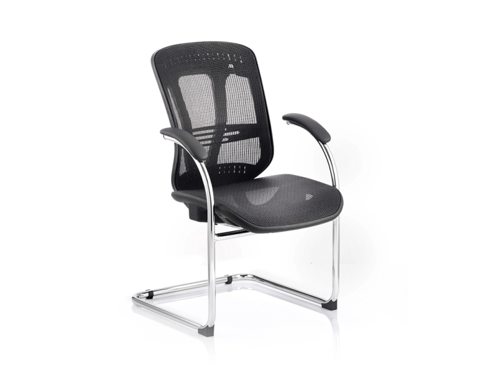 Cora – Cantilever Chair with Black Mesh with Arms