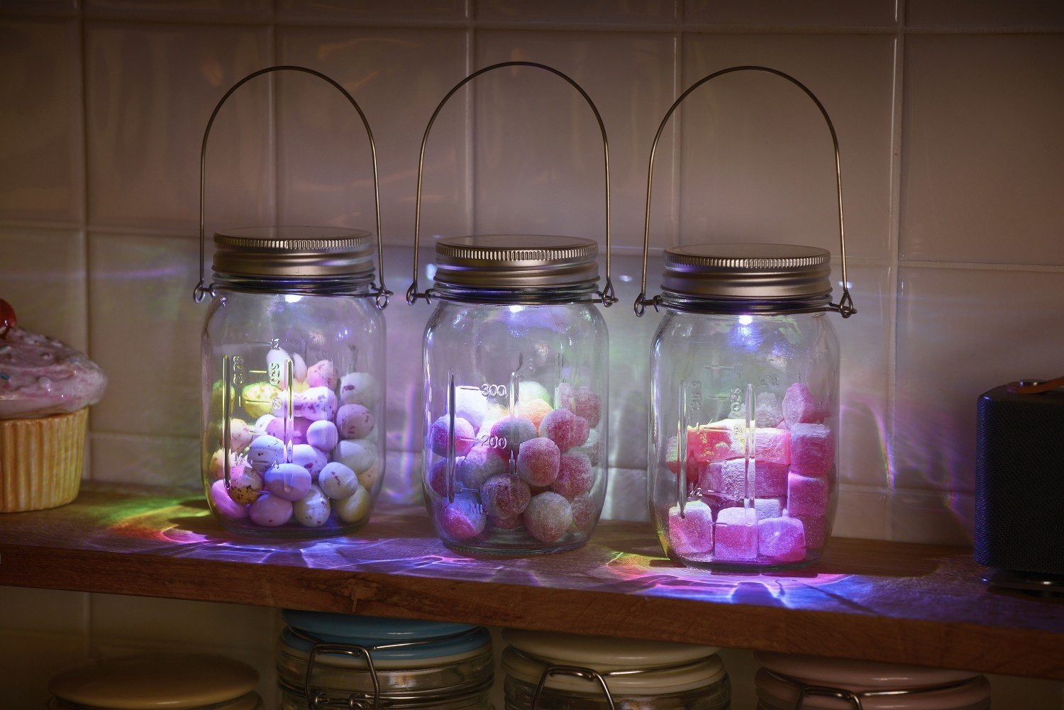 Battery Glass Jar Indoor Lights Colour Changing 3 Pack Auraglow LED Lighting