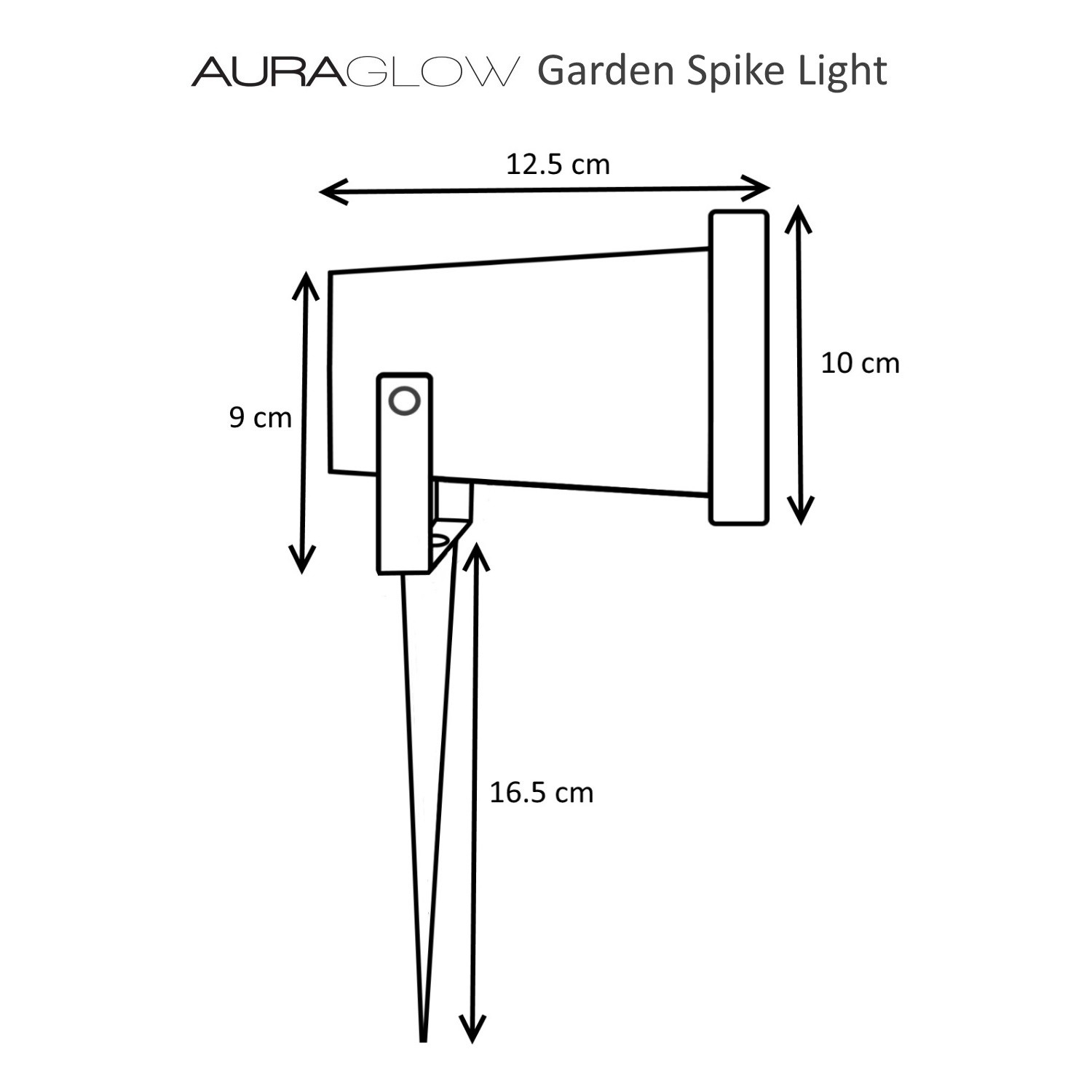 Auraglow Deep Recessed Gu10 Holder Ip54 Garden Spike Light