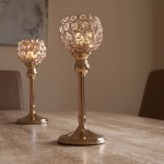 Crystal Tea Light Pillar Candle Holder Set Of Two Gold Or Silver Auraglow Led Lighting