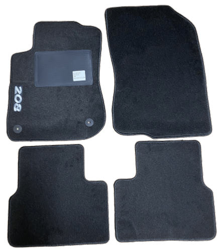 kit 4 tapis de sol auto pour peugeot 208 de 2015 2019 avec sigle 208 avec clips neuf