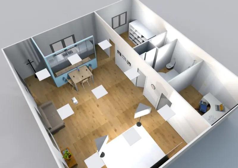 Cette photo représente une vue 3D de dessus du futur studio photo