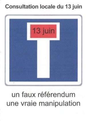 Consultation locale du 13 juin : un faux référendum, une vraie manipulation