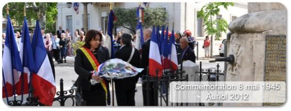 Commémoration du 8 mai 1945 à Auriol - Véronique Miquelly dépose la gerbe du Député Richard Mallié