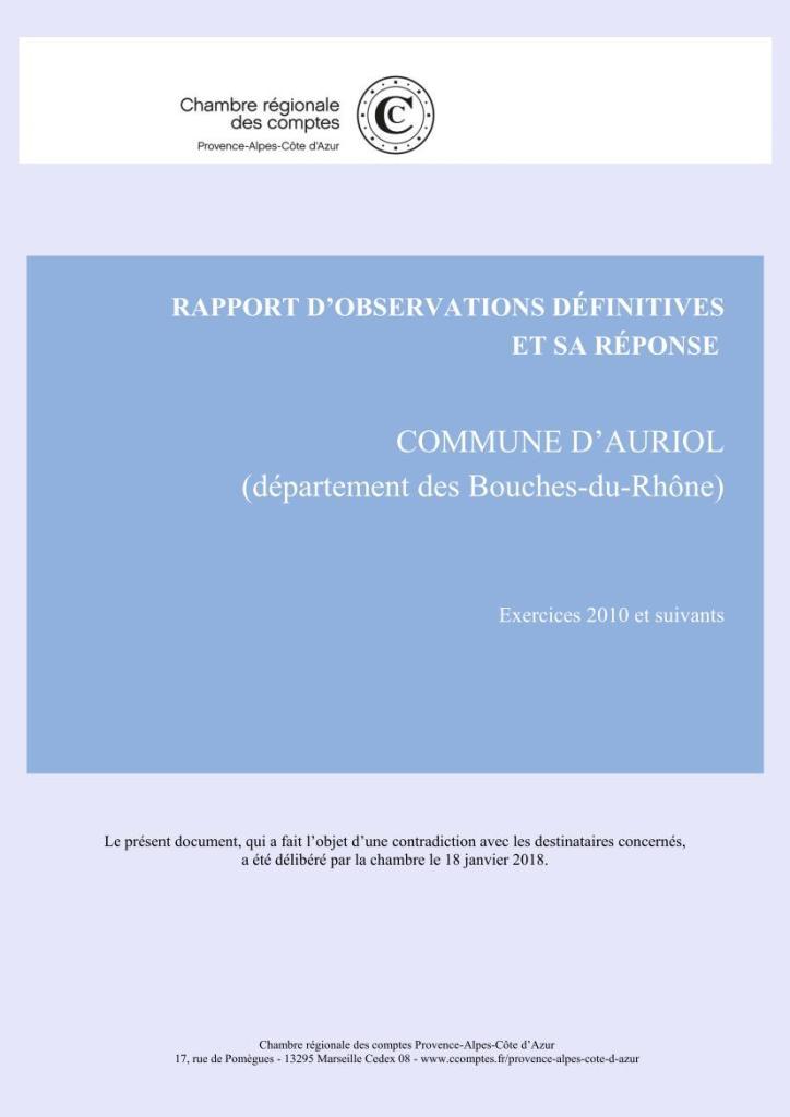 Auriol : 2018 - NOUVEAU RAPPORT ACCABLANT de la Chambre Régionale des Comptes