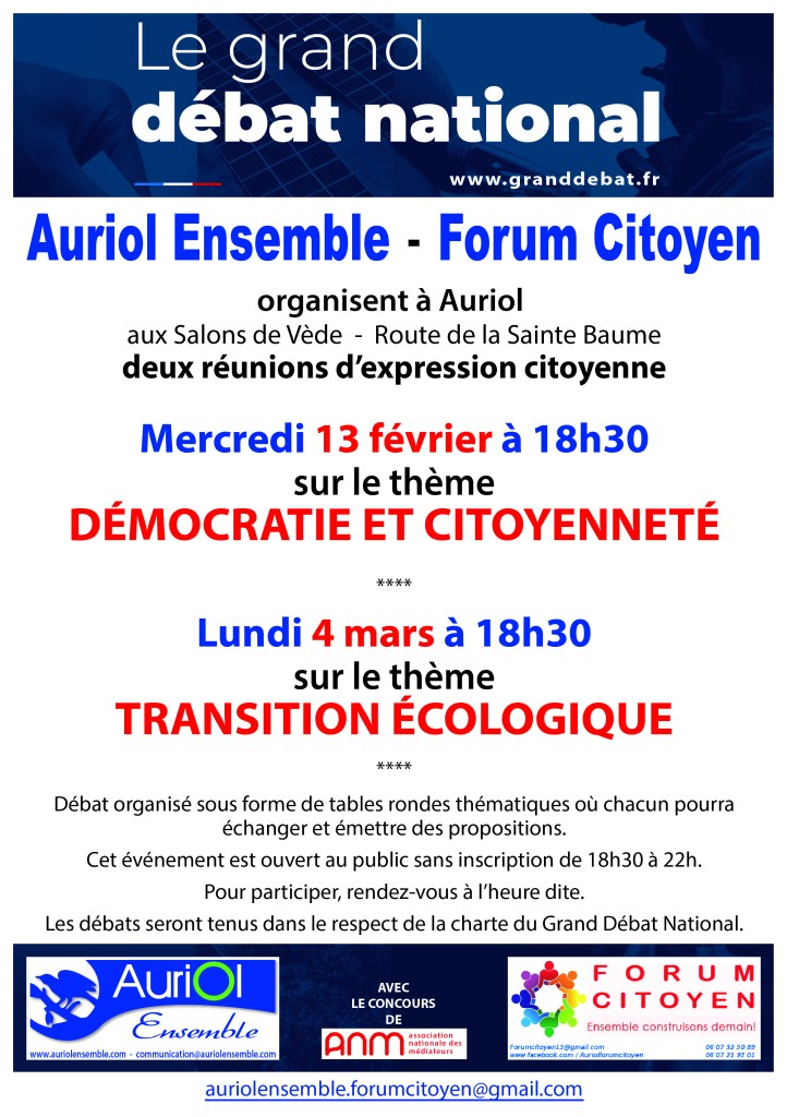 Grand débat Auriol Ensemble Forum Citoyen