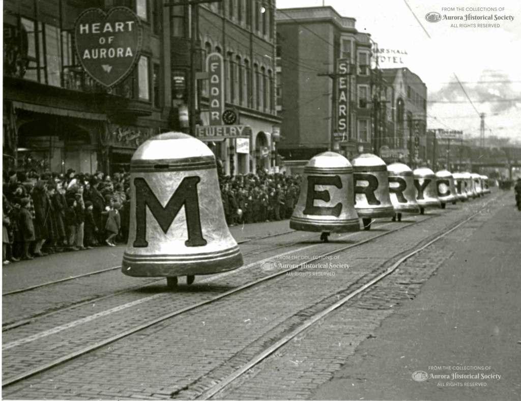 Aurora Christmas parade on Broadway about 1938 (Aurora-Historical Society Photo)