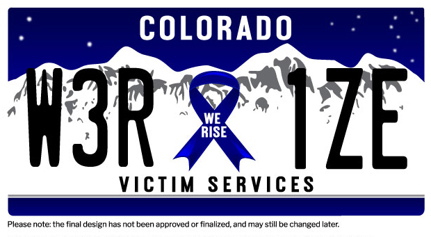 Aurora Rise - Victim Services License Plate
