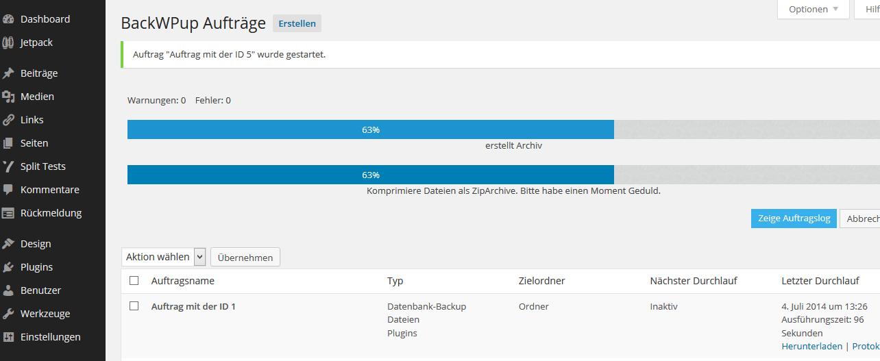 WordPress Backups mit dem PlugIn BackWPup