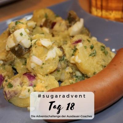 zuckerfrei ernähren - bockwurst und Kartoffelsalat