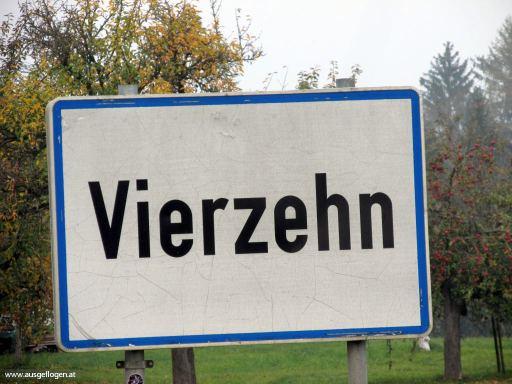 Vierzehn in Oberösterreich - lustige Ortsschilder Österreich
