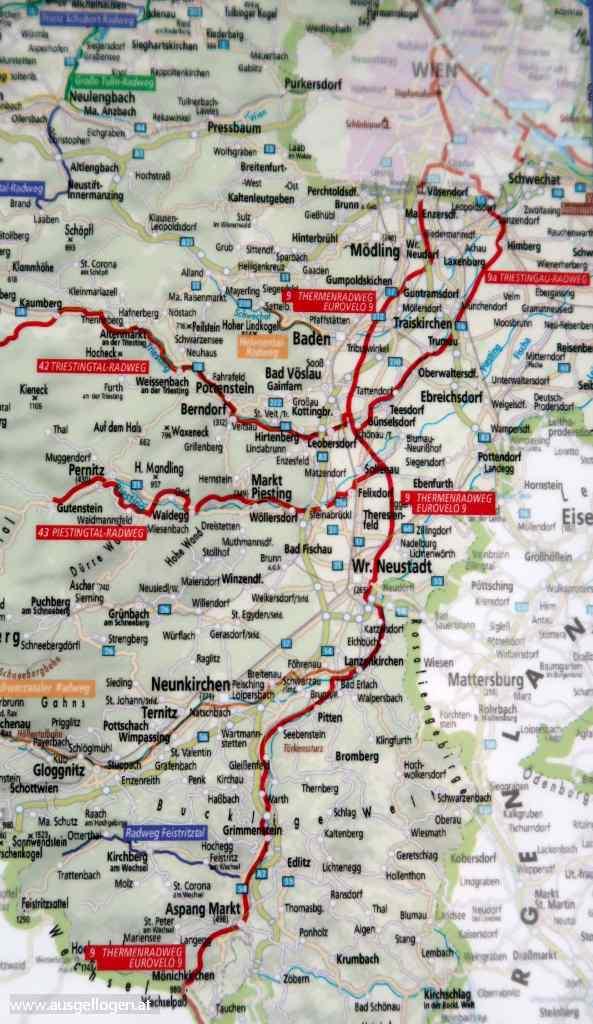 Thermenradweg Aspang Eurovelo 9 Strecke Karte