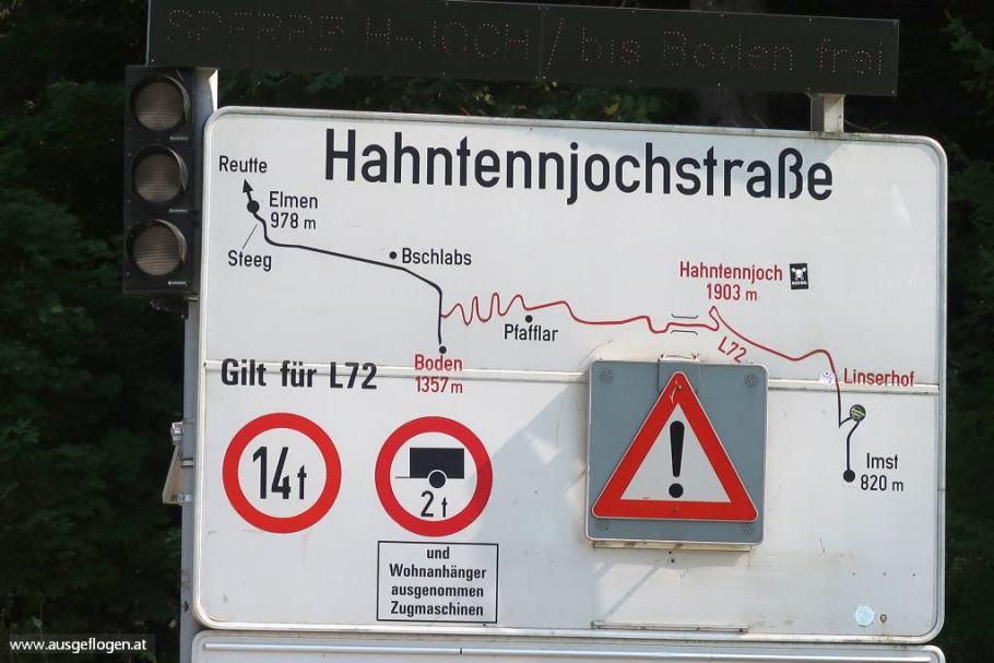 Hahntennjochstraße Verbindung Lechtal ins Inntal
