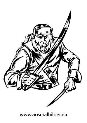 Ausmalbilder Pirat Mit Messer Und Dolch Piraten