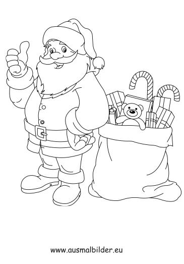 Ausmalbilder Nikolaus Mit Geschenken Weihnachten Malvorlagen