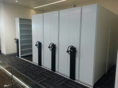 ausrecord mobile shelving compactafile compact@file unit with ezi-drive mechanically assisted drive