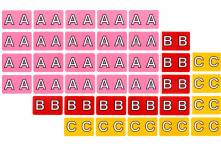 Full size alphabet labels, sheets