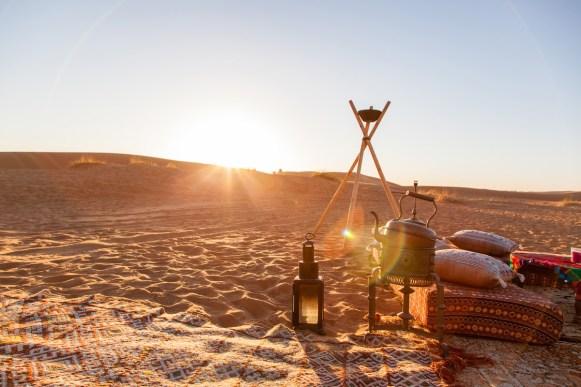 Sonnenuntergang im Desert Luxury Camp