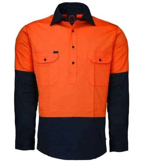 Lightweight Work Shirt- Closed Front - Orange Navy