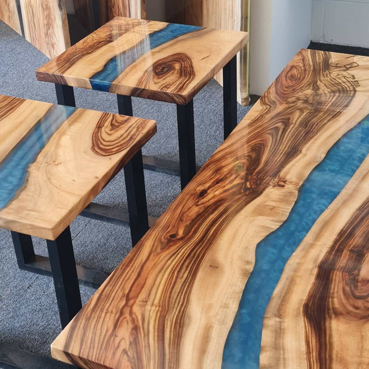 Aussie Camphor; Epoxy; Resin; Mica Pigment; table top; river table