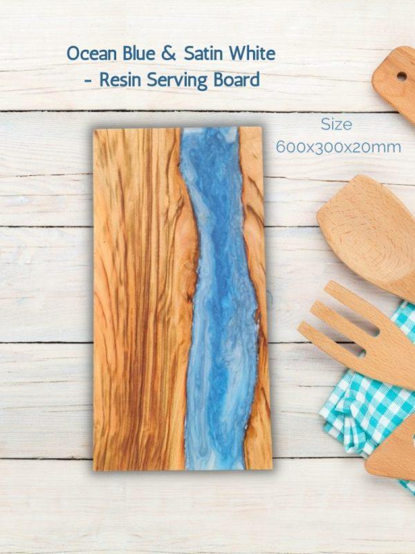 Ocean Blue & Satin White - Resin Serving Board - Aussie Camphor