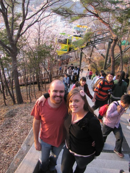 Posing with Kimberly on the walk up a mountain in Jinhae