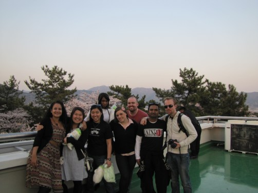 Posing with new friends on top of the tower in Jinhae
