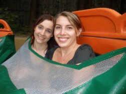 Jami and Krystin prepare to get wet on the Amazon Adventure.
