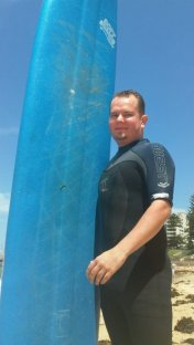 My mate Adam fresh from his first surf experience at Dee Why.
