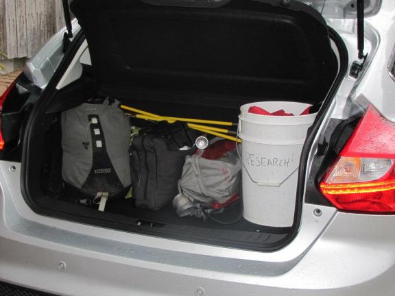The boot loaded up with gear for the trip