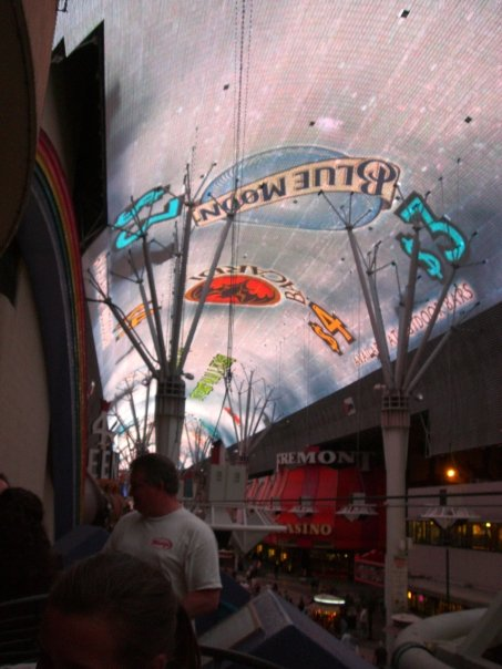 The world's largest LCD screen hangs overhead in Fremont Street