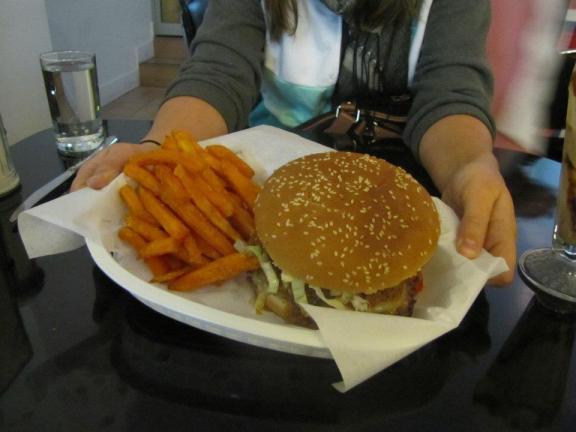 Chili cheese burger and sweet potato fries