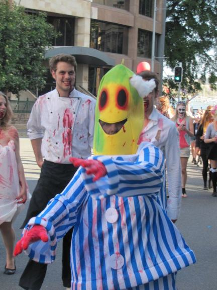 A zombie banana in pajamas