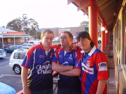 Posing after the Newcastle Knights beat the South Sydney Rabbitohs in 2005