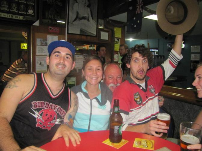 Locals drinking at the Tea Gardens Pub