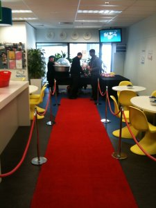 popcorn machine and red carpet
