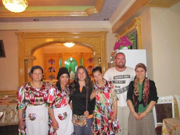 Posing with Uighur girls in Xinjiang