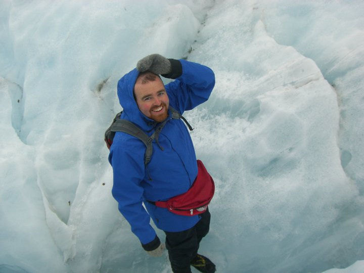 Standing on a glacier