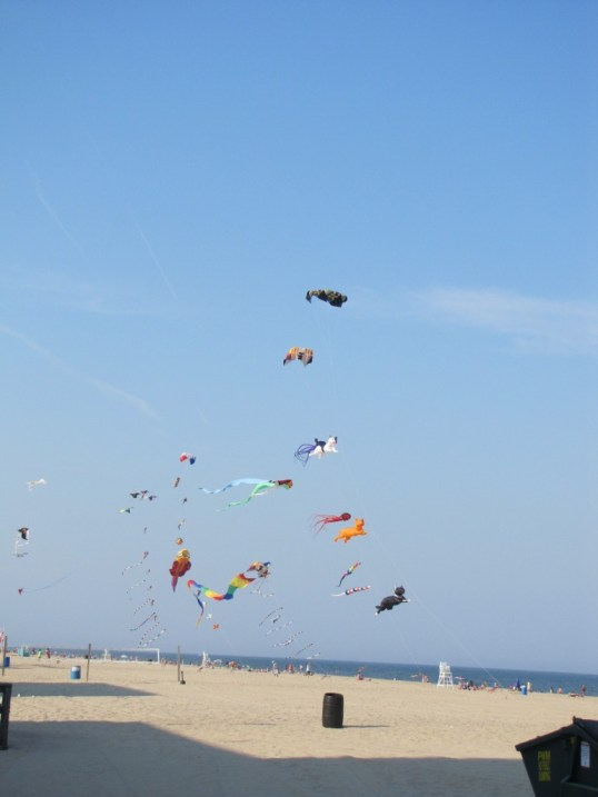Kites flying over the beach at Ocean City