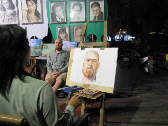 Posing for a portrait in Sanya, Hainan