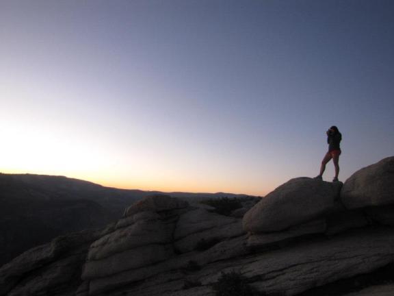 The sun sets over Yosemite