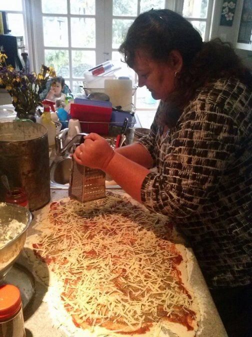 Mum making pizza scones