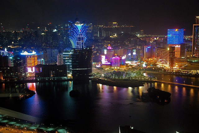 Is that Vegas? Nope. It's Macau's similarly garish skyline.