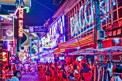 That's not Las Vegas - that's Soi Cowboy, Bangkok's own little strip of Sin City.
