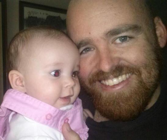 My niece gets introduced to my beard.