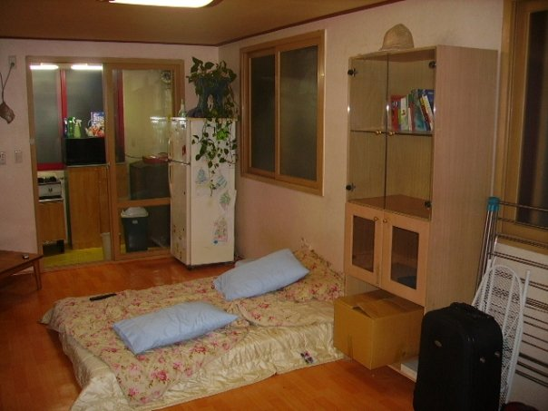 My first Korean apartment. Note the mattress on the floor acting as my bed.