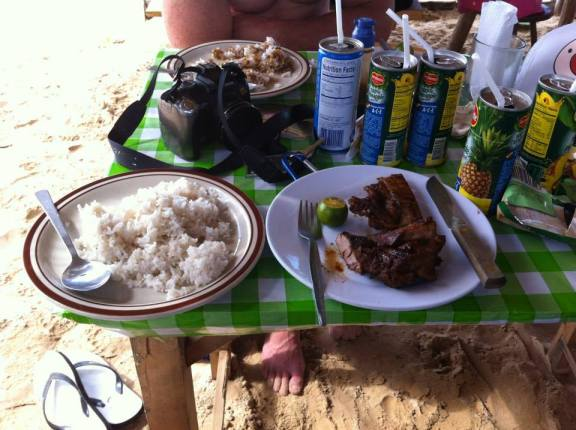 Some rice and BBQed pork on a beach north of El Nido.