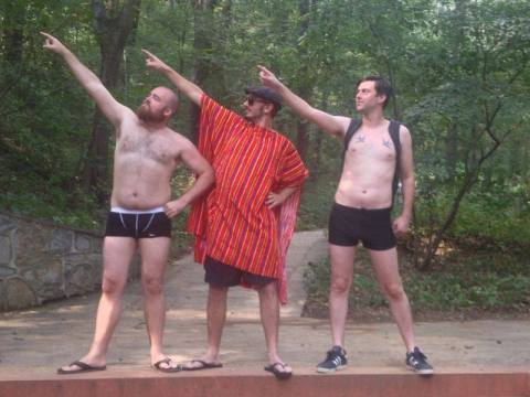 Myself, James, and Colin display our rocking bods for no real reason.
