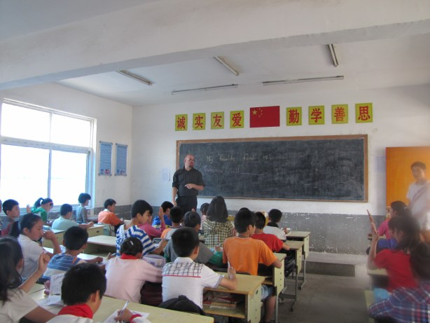 Teaching a class of eager young kids in Shuanggou, Jiangsu.